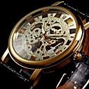levne Pánské-WINNER Pánské Hodinky s lebkou Náramkové hodinky mechanické hodinky Mechanické manuální natahování Z umělé kůže Černá S dutým gravírováním Analogové Luxus - Zlatá