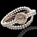 hesapli Kadın Saatleri-Kadın's Moda Saat Bilezik Saat Benzersiz Yaratıcı İzle Quartz imitasyon Pırlanta Alaşım Bant Analog Işıltılı Bohem İnci Altın Rengi - Beyaz