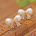 preiswerte Ohrringe-Damen Perle Ohrstecker / Ohr-Stulpen - Perle, Krystall, Künstliche Perle Kreuz, Schleife Luxus Weiß Für Party / Alltag / Normal / vergoldet / Diamantimitate