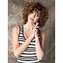 hesapli Küpeler-Sentetik Peruklar Bukle / Kinky Curly Sentetik Saç Peruk Kadın's Şort Bonesiz Kahverengi