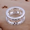 hesapli Yüzükler-Kadın's Bildiri Yüzüğü - Gümüş Kaplama Moda 7 Gümüş Uyumluluk Parti / Günlük