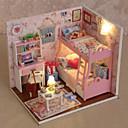 abordables Ampoules Globe LED-maison de poupée miniature avec des meubles enfants bricolage mini maison de poupée modèle princesse chambre enfants jouet Noël nouvel an anniversaire