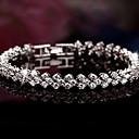 ieftine Brățări-Pentru femei Zirconiu Cubic diamant mic Brățări cu Talismane Brățări Bangle Bratari de tenis femei Lux de Mireasă Festival / Sărbătoare De Fiecare Zi Plastic Bijuterii brățară Argintiu Pentru Cadouri