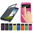 hesapli Galaxy S Serisi Kılıfları / Kapakları-Pouzdro Uyumluluk Samsung Galaxy Samsung Galaxy Kılıf Pencereli Flip Tam Kaplama Kılıf Tek Renk PU Deri için S4 Mini