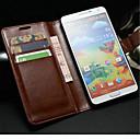 رخيصةأون الأساور الذكية-غطاء من أجل Samsung Galaxy Note 3 محفظة / حامل البطاقات / مع حامل غطاء كامل للجسم لون سادة جلد PU
