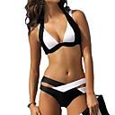 ieftine Bijuterii de Păr-Pentru femei Halter Negru Albastru Închis Liliac Cheeky Bikini Costume de Baie - Bloc Culoare XL XXL XXXL Negru / Sutiene cu Întăritură
