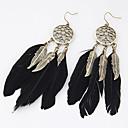 hesapli Küpeler-Kadın's Damla Küpeler - Tüy Leaf Shape, Kuş tüyü Bayan, Kişiselleştirilmiş, Avrupa, Moda Mücevher Uyumluluk Parti Günlük