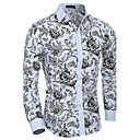 cheap Bracelets-Men's Cotton Slim Shirt - Floral Print Spread Collar / Long Sleeve / Spring / Fall