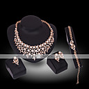 ieftine Seturi de Bijuterii-Pentru femei Perle Diamant sintetic Seturi de bijuterii femei Lux 18K Placat cu Aur Perle Placat Auriu cercei Bijuterii Alb Pentru Nuntă Petrecere / Diamante Artificiale
