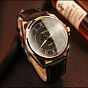Χαμηλού Κόστους Ανδρικά ρολόγια-YAZOLE Ανδρικά Ρολόι Καρπού Χαλαζίας Hot Πώληση Δέρμα Μπάντα Αναλογικό Καθημερινό Μαύρο / Καφέ - Μαύρο
