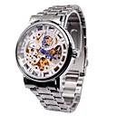 ieftine Ceasuri Bărbați-Bărbați Ceas de Mână Mecanism automat Gravură scobită Aliaj Bandă Argint Marca-