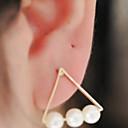 hesapli Küpeler-Kadın's Vidali Küpeler - İnci Moda Mücevher Beyaz / Siyah Uyumluluk Günlük