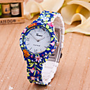 cheap Necklaces-Women's Fashion Watch Quartz Hot Sale Plastic Band Analog Flower Blue - White Yellow One Year Battery Life / Tianqiu 377