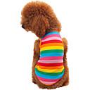 hesapli Ev Dekorasyonu-Kedi Köpek Tişört Köpek Giyimi Çizgi Gökküşağı Pamuk Kostüm Evcil hayvanlar için Erkek Kadın's Moda