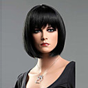 hesapli Makyaj ve Tırnak Bakımı-Sentetik Peruklar Düz Bob Saç Kesimi / Bantlı Sentetik Saç Patlama ile Peruk Kadın's Şort Bonesiz Siyah
