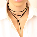 cheap Necklaces-Women's Long Choker Necklace / Tattoo Choker - Leather Personalized, Tattoo Style, Punk Black, Silver Necklace Jewelry For Party, Daily, Casual