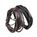 cheap Dog Clothing & Accessories-Unisex Wrap Bracelet Leather Bracelet Layered Rope Plaited Wrap Simple Style Multi Layer Paracord Bracelet Jewelry Black / Brown For Christmas Gifts Party Daily Casual