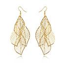 hesapli Küpeler-Kadın's Püskül Uzun Küpe - Leaf Shape Püskül, Bohem, Moda Altın Uyumluluk Günlük