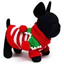 hesapli Pet Noel Kostümleri-Kedi Köpek Kazaklar Köpek Giyimi Çizgi Beyaz Kırmzı Yeşil Pamuk Kostüm Evcil hayvanlar için Erkek Kadın's Tatil Sıcak Tutma Noel