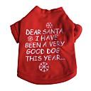 hesapli Dekorasyon Etiketleri-Kedi Köpek Tişört Köpek Giyimi Kar Tanesi Kırmzı Pamuk Kostüm Evcil hayvanlar için Erkek Kadın's Yeni Yıl'ınkiler Noel