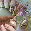 cheap Makeup & Nail Care-1 sheet embossed 3d nail stickers blooming flower 3d nail art stickers decals