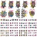 cheap Makeup & Nail Care-12 designs owl flower watercolor nail stickers beauty nail art temporarily watermark nail tips decals diy bn433 444
