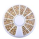 cheap Makeup & Nail Care-1 box ab beige color metal edge glitter nail beads studs diy beauty charm nail art pearls decorations wheel