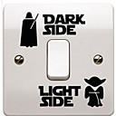 hesapli Ev Dekorasyonu-Karton Duvar Etiketler Uçak Duvar Çıkartmaları Işık Düğmesi Çıkartmaları, Kağıt Ev dekorasyonu Duvar Çıkartması Düğme