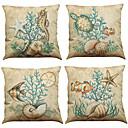 tanie Poduszki-4.0 szt Bielizna Naturalne / ekologiczne Poszewka na poduszkę Pokrywa Pillow, Jendolity kolor Textured Styl plażowy Tradycyjny / Classic
