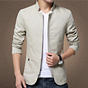 cheap Men's Jackets-Men's Daily / Weekend Spring / Fall / Winter Plus Size Short Jacket, Solid Colored Stand Long Sleeve Cotton Beige / Navy Blue / Khaki XXXL / 4XL / XXXXXL / Slim