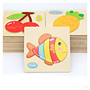 cheap Children Puzzles-Educational Flash Card Jigsaw Puzzle Wooden Puzzle Fish Animals DIY Cartoon Boys' Girls' Toy Gift