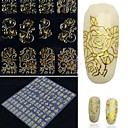cheap Makeup & Nail Care-108 one sheet golden 3d flower nail art stickers