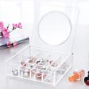 hesapli Saklama ve Organizasyon-Cam Plastik Oval Seyahat Ev organizasyon, 1pc Masaüstü Düzenleyiciler Kozmetik Depolamaları Pudełka na biżuterię Takı Düzenleyiciler