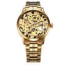 preiswerte Uhren-WINNER Herrn Armbanduhr Mechanische Uhr Automatikaufzug Transparentes Ziffernblatt Edelstahl Band Analog Luxus Gold - Silber Golden