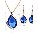 cheap Jewelry Sets-Women's Crystal Jewelry Set - Rose Gold, Crystal, Rhinestone Drop Fashion Include Drop Earrings / Pendant Necklace / Necklace / Earrings Red / Green / Blue For Wedding / Party / Daily