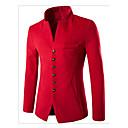 رخيصةأون قمصان رجالي-رجالي أسود أحمر أزرق البحرية L XL XXL سترة النمط الصيني لون سادة V رقبة / مرتفعة / كم طويل / الربيع / الشتاء