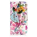 ieftine Carcase / Huse Galaxy S Series-Maska Pentru Apple iPhone 7 Plus iPhone 7 Titluar Card Portofel Cu Stand Întoarce Magnetic Model Embosat Carcasă Telefon Floare Elefant
