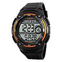 cheap Men's Watches-SKMEI Men's Sport Watch Digital Watch Digital Water Resistant / Water Proof Stopwatch Cool PU Band Digital Black - Orange Red Silver / Gray Two Years Battery Life / Maxell CR2025