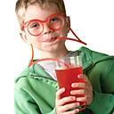 baratos Garrafas de água-2 pcs design de óculos de palha engraçado macio copos de palha único flexível tubo de beber crianças colorido de plástico bebendo palhas diy bar accesso (cor aleatória)