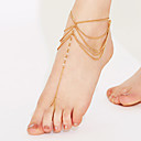 hesapli Bilezikler-Kristal Katmanlı Püskül Ayak bileziği Barefoot Sandalet - Kristal Püskül, Vintage, Parti Beyaz / Altın Uyumluluk Parti Kumsal Kadın's