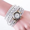 baratos Relógios Femininos-Mulheres Quartzo Relógio Pavé Relógio de Pulso Bracele Relógio Chinês Couro PU Banda Luxo Criativo Casual Fashion Preta Branco Azul