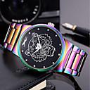 levne Pánské-Pánské Dámské Náramkové hodinky Křemenný Nerez Zelená / Fialová 30 m kreativita Cool Punk Analogové Přívěšky Luxus Na běžné nošení Duhová Skládaný - Zelená Modrá a fialová Dva roky Životnost baterie