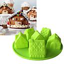 preiswerte Backzubehör & Geräte-Weihnachten 6 Haus Form Silikonform 3d fandont Schokoladenform Bakeware Fondant Kuchen Werkzeuge