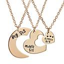 hesapli Küpeler-Kadın's Uçlu Kolyeler - Paslanmaz Çelik Moda Altın, Gümüş Kolyeler 3adet Uyumluluk Parti, Günlük