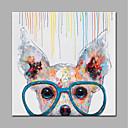 رخيصةأون ملصقات ديكور-هانغ رسمت النفط الطلاء رسمت باليد - حيوانات ستايل حديث بدون إطار داخلي / توالت قماش