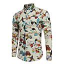 رخيصةأون سترات و بدلات الرجال-رجالي مناسب للحفلات بوهو طباعة قطن / كتان قميص, ورد ياقة كلاسيكية نحيل / كم طويل