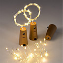 cheap LED String Lights-3pcs 15-LED 0.75M Copper Wire String Light with Bottle Stopper for Glass Craft Bottle Fairy Valentines Wedding Decoration Lamp Party