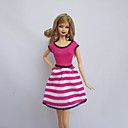 hesapli Küpeler-Parti / Gece Elbiseler İçin Barbie Bebek Fuşya Polyester Elbise İçin Kız Oyuncak bebek