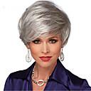 preiswerte Make-up & Nagelpflege-Synthetische Perücken Damen Glatt Grau Mit Pony Synthetische Haare Natürlicher Haaransatz / Seitenteil Grau Perücke Kurz Kappenlos Silber