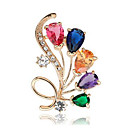 ieftine Cercei-Pentru femei Cristal Diamant sintetic Broșe Florale / Botanice Floare Curcubeu femei Clasic Modă Cristal Diamante Artificiale Broșă Bijuterii Auriu Argintiu Pentru Zilnic Oficial